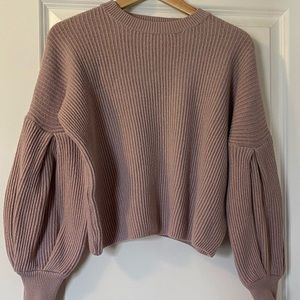 Apricot Drop Bishop Sleeve Knit Sweater